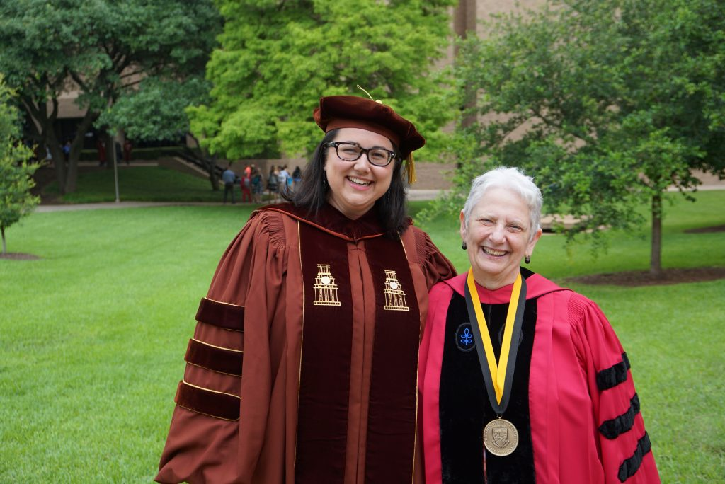 Megan Case with her advisor Jo Ann Hackett at her graduation.