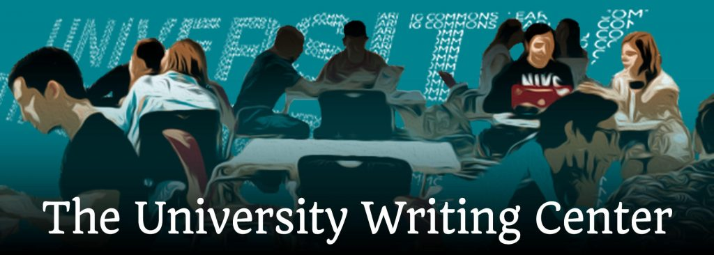 Artwork by Michele Solberg, showing students and consultants sitting down at tables and working on papers.